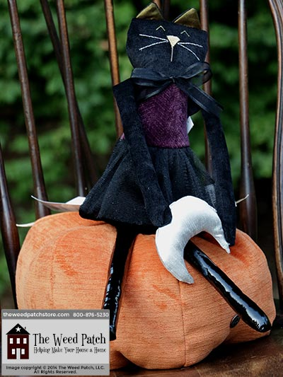 Woof & Poof Purple Herringbone Cat with Moon Door Hanger - Halloween 2014 at The Weed Patch