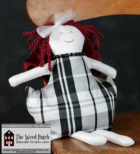 Woof & Poof Black & White Plaid Small Valentine Girl Collectible Doll - Valentine's 2015 at The Weed Patch