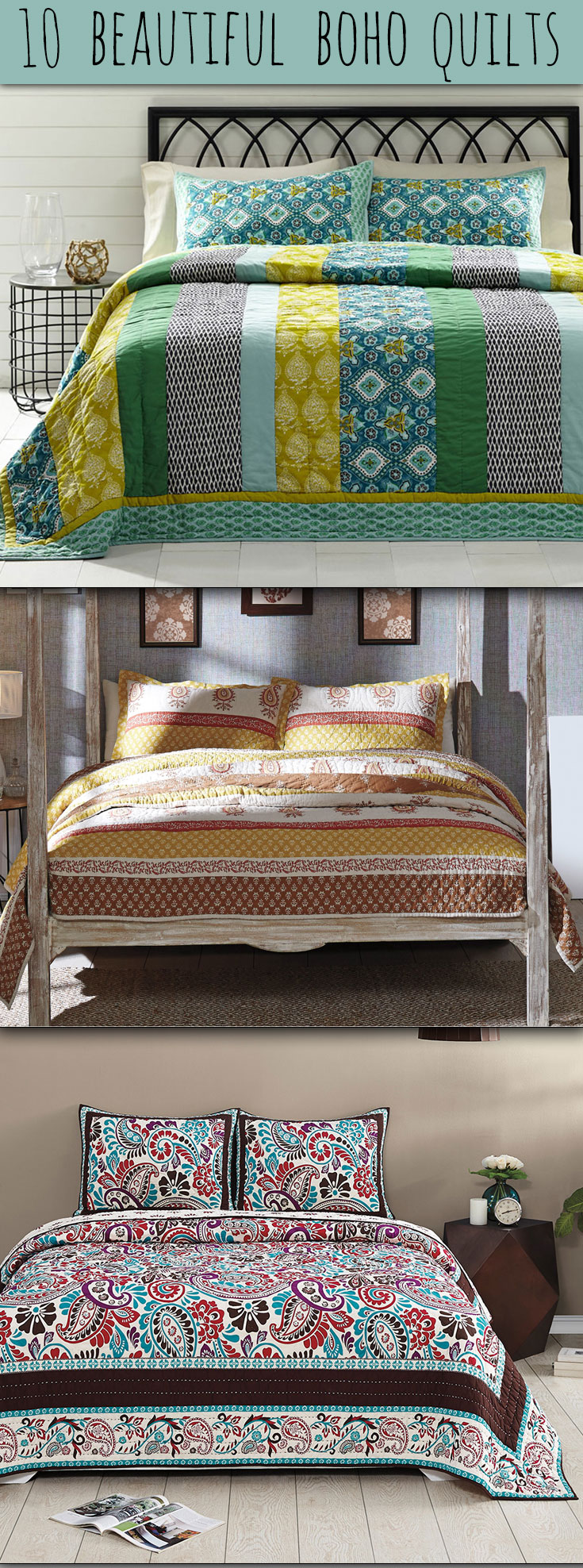 Ten Beautiful Boho Bedding Quilts at The Weed Patch
