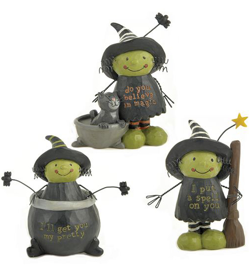 Little Witches - Striped Hat with Bat and Star Blossom Bucket at The Weed Patch