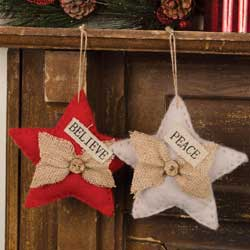 Glad Tidings Burlap Star Ornament