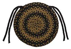 Ebony Black and Tan Braided Chair Pad