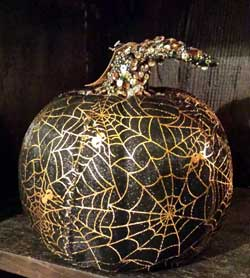 Mesh Pumpkin - Black and Gold