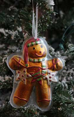 Home Christmas Ornament - Gingerbread with Star Garland