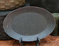 Distressed Oval Tray - Black