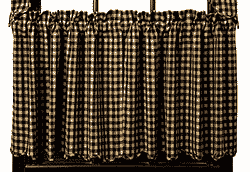 Black Check Cafe Curtains - 24 inch Tiers (Black and Tan)