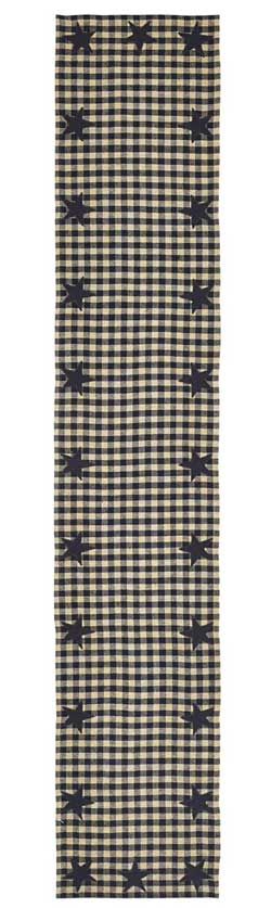 Black Star Table Runner, 72 inch (Black and Tan)