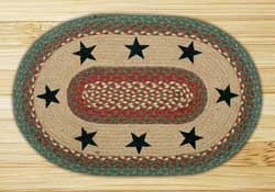 Green Stars Braided Jute Rug