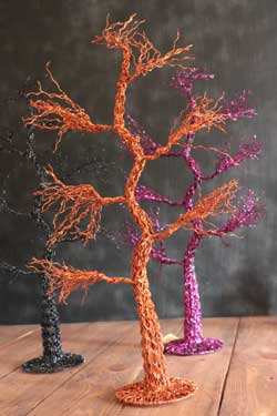 Glitter Halloween Tree - Orange