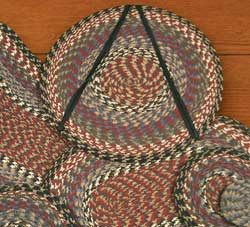 Burgundy, Blue, and Gray Cotton Braid Chair Pad