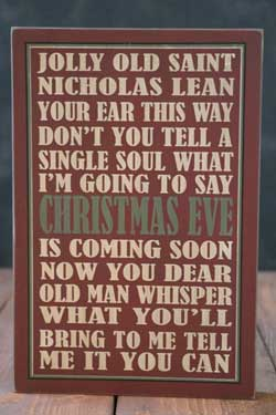 Jolly Old St Nick Box Sign - Red