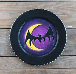 Bat and Moon Hand Painted Plate