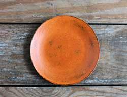 Distressed 6 inch Candle Plate - Pumpkin Orange