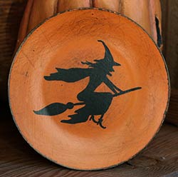 Orange Distressed Mini Plate with Flying Witch