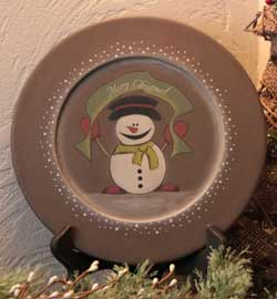 Merry Christmas Snowman Plate