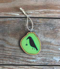 Crow with Shamrock Slice Ornament (Personalized)