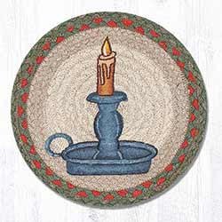 Holiday Candle Braided Tablemat - Round (10 inch)