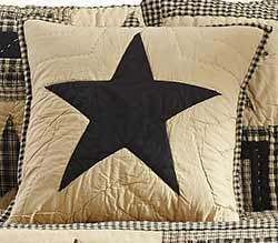 Jamestown Black & Tan Quilted Star Pillow Cover