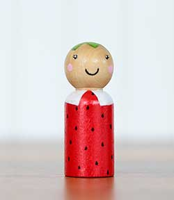 Strawberry Peg Doll (or Ornament)