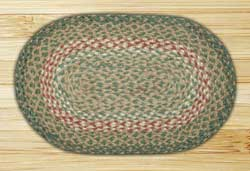 Green and Burgundy Braided Tablemat (10 x 15 inch)