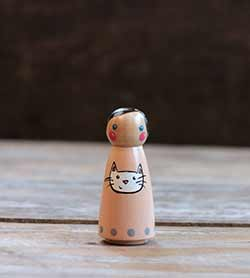 White Kitty Cat Girl Peg Doll (or Ornament)