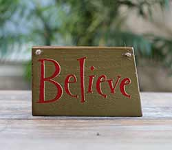 Believe Wooden Sign (Olive Green) - Small