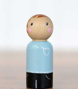 Light Blue Boy Peg Doll (or Ornament)