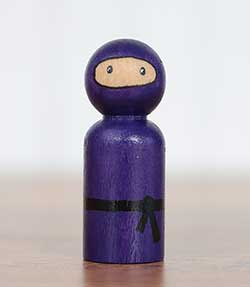 Ninja Peg Doll - Purple (or Ornament)