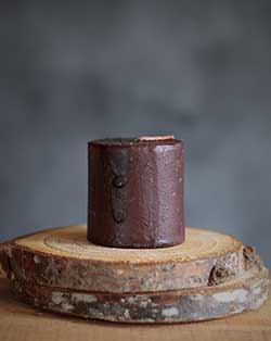 Burgundy Dripped Wax Primitive Mini Pillar Candle