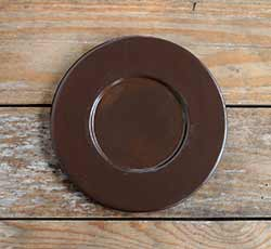 Distressed Wood Candle Plate - Chocolate Brown