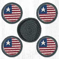 Patriotic Flag Braided Coaster Set