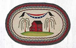 Patriotic Crow Braided Rug