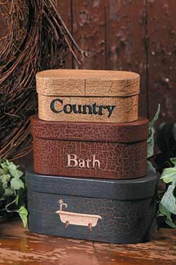 Country Bath Stacking Boxes (Set of 3)