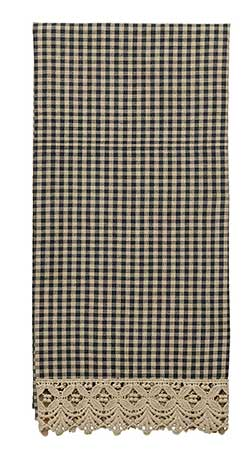 Ava Black Check & Lace Kitchen Towel
