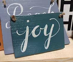 Teal Joy Wood Sign