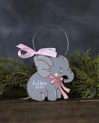 Baby Elephant Ornament - Pink (Personalized)