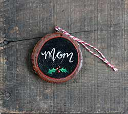 Mom Wood Slice Ornament (Personalized)