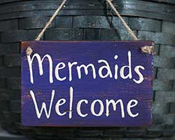 Mermaids Welcome Purple Sign