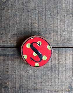 Initial Wood Slice Ornament - Red with Polka Dot