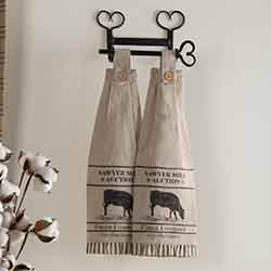 Sawyer Mill Charcoal Cow Button Loop Kitchen Towels (Set of 2)