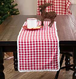 Emmie Red White Check 36 inch Table Runner
