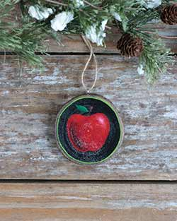Apple Wood Slice Ornament (Personalized)