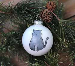 Cat Personalized Glass Ornament - Gray