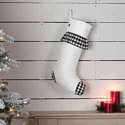 Emmie Black Check Ruffle 20 inch Stocking