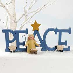 Peace Plaque with Shepherd & Baby Jesus