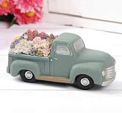 Blue Vintage Truck with Flowers