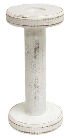 Antique White Wooden Candle Holder - Small