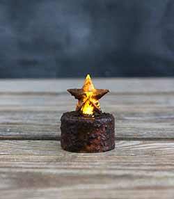 Burnt Mustard Star Timer Tealight Candle