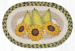 Pear & Sunflowers Printed Braided Oval Tablemat