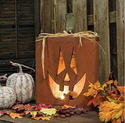 Light Up Rustic Jack o'Lantern Box (13 x 11 inch)